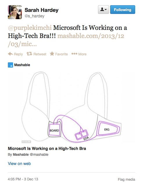 tweet alerting me to the Microsoft bra, with an image from the article